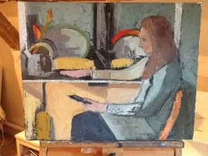 'Ellen by her Aga', Lucinda Rendall, oil on canvas, 50x40 cm, 2012