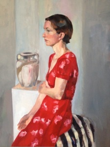 'In Red' by Viviana  Macchi di Cellere, oil on linen, 94x74cm, 2012