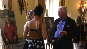 IWF UK Portrayed! by the Lots Road Group at the IoD - artists Martin Burrough and Katherine Firth with guests. Credit: Chocolate Films