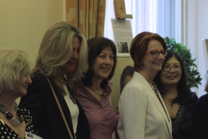 IWF UK Portrayed! by the Lots Road Group at the IoD inaugural Mackworth Lecture - artists Sarah Reynolds, Christine Klein, Stella Tooth and Sharon Low with ex Australian PM Julia Gillard Credit: Chocolate Films