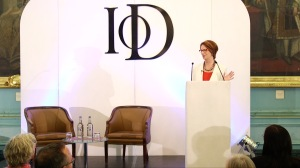 Ex Australian PM Julia Gillard delivers the inaugural Mackworth Lecture at the IoD where IWF UK's Portrayed! by the Lots Road Group formed the backdrop.  Credit: Chocolate Films