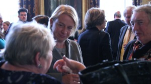 Green Party Leader Natalie Bennett at inaugural Mackworth Lecture at the IoD where IWF UK's Portrayed! by the Lots Road Group formed the backdrop.  Credit: Chocolate Films
