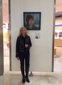 Christine with her portrait of Susan at KPMG reception