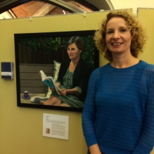 Food historian and nutrition writer Bee Wilson with Hilary Puxley's portrait at Art of Reading Lots Road Group Cambridge Literary Festival April 2017-004