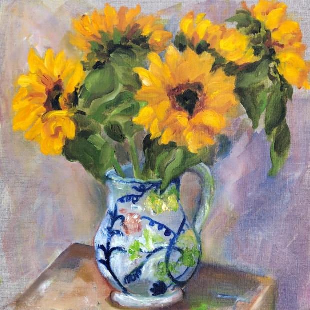 Christine Klein Cinq tournesols oil on canvas panel 44x44cm £695.JPG