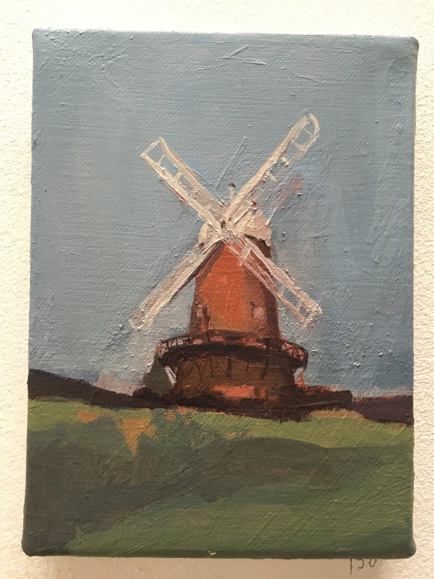 Elizabeth Shields Red Windmill oil on canvas 13x28cm £550.JPG