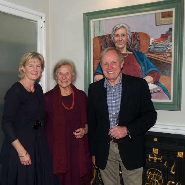 Katherine Firth with Dame Gillian Beer at unveiling at Clare Hall