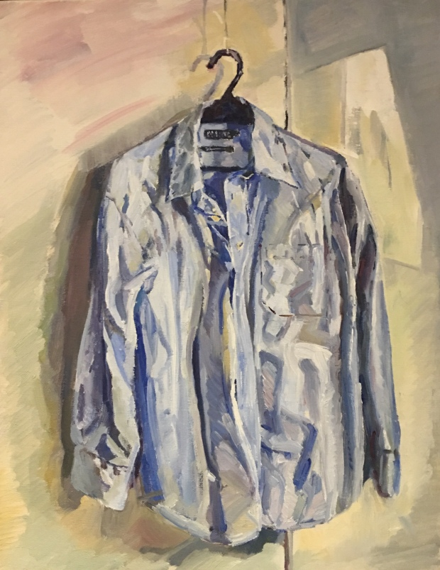 Mark Stevenson's Blue Shirt oil on canvas 35x45cm £240.jpg