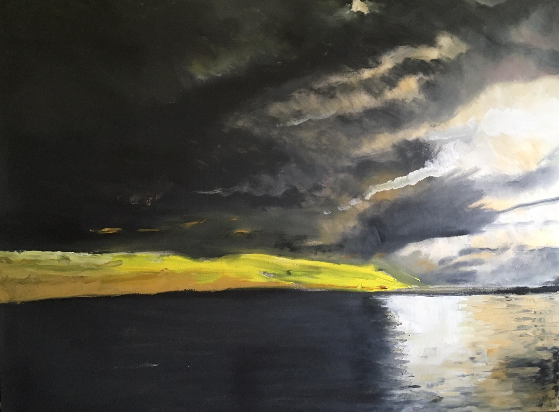 Sarah Reynolds Sunset - Lake Vannen Sweden £1700.JPG