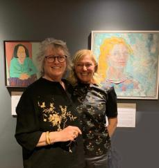 Maureen Nathan with Alla Broeksmit and her self portrait
