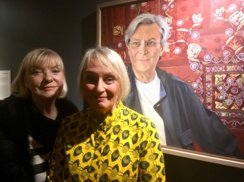 Hilary Puxley and her sitter's wife with her portrait