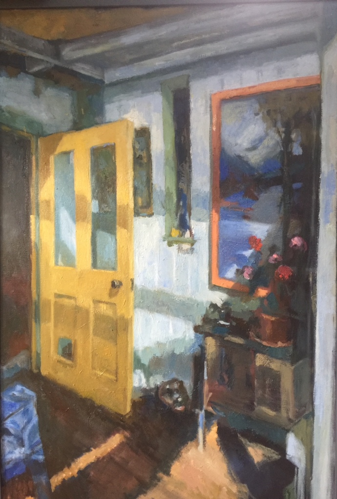 Interior painting by Lots Road Group artist Colleen Quill for 'Beyond the Door' exhibition July 2021 at Bermondsey Project Space